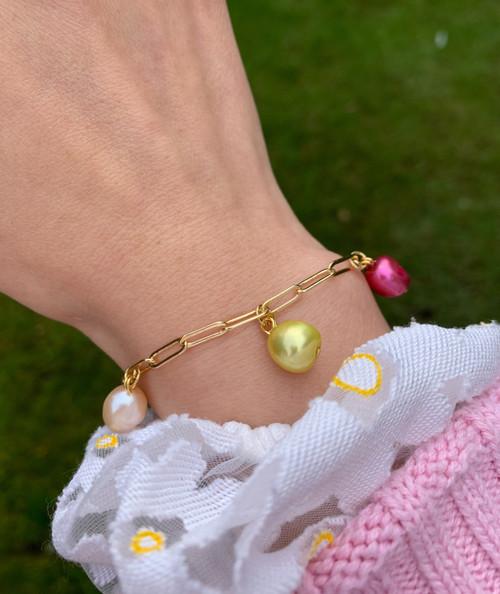 Multicolour Baroque Pearl Link Chain Bracelet