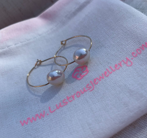 Baroque Pearls on Gold Hoops
