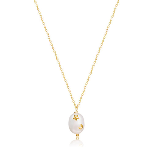 Astra Large Pearl Pendant Chain Necklace