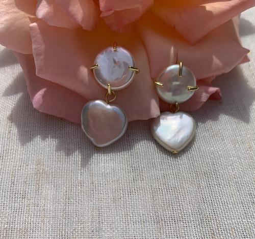Heart Pearl on Round Heart Earrings, Gold Vermeil