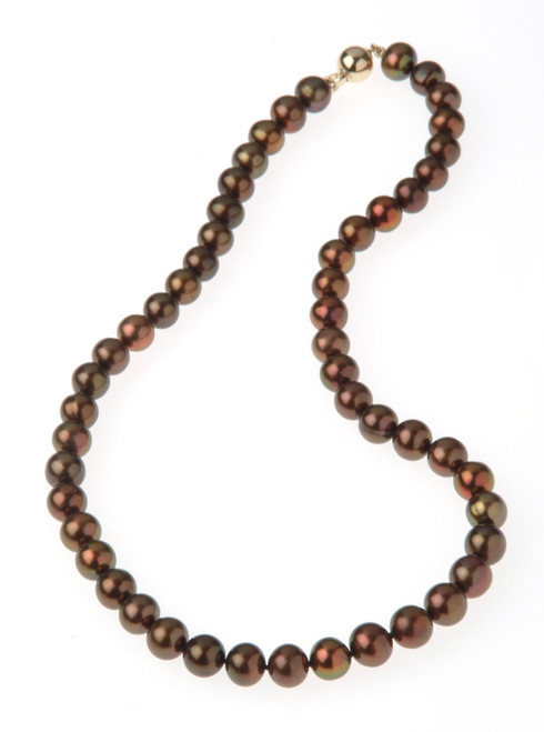 Chocolate Round Pearl Necklace with 14ct Yellow Gold Ball Clasp