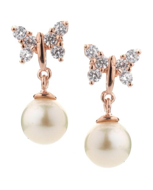 White Pearl Earrings with Swarovski Butterfly