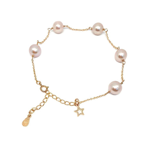 Lilac Round Pearl Bracelet with Star or Heart Charm, Rose Gold2