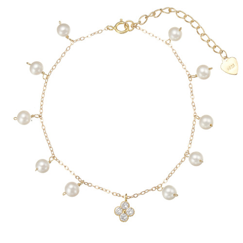 White Pearl Bracelet and Swarovski Flower Charm