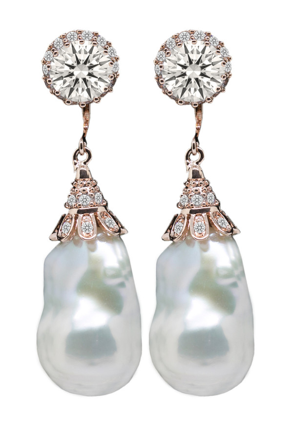 Baroque Pearl Drop Earrings with Swarovski Crystal in Rose Gold
