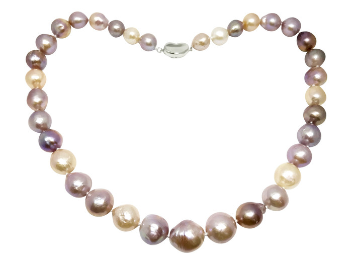 Lustrous Rainbow  Baroque Pearl Necklace with Sterling Silver Heart Buckle