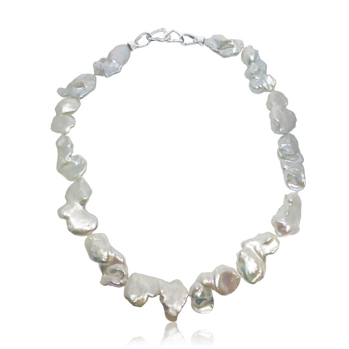 Large White Baroque Pearl Necklace