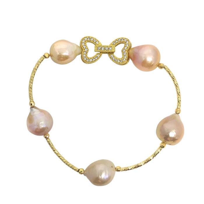 Lustrous Rainbow Baroque Pearl Bracelet with Dual Heart Buckle, Pastel Peach