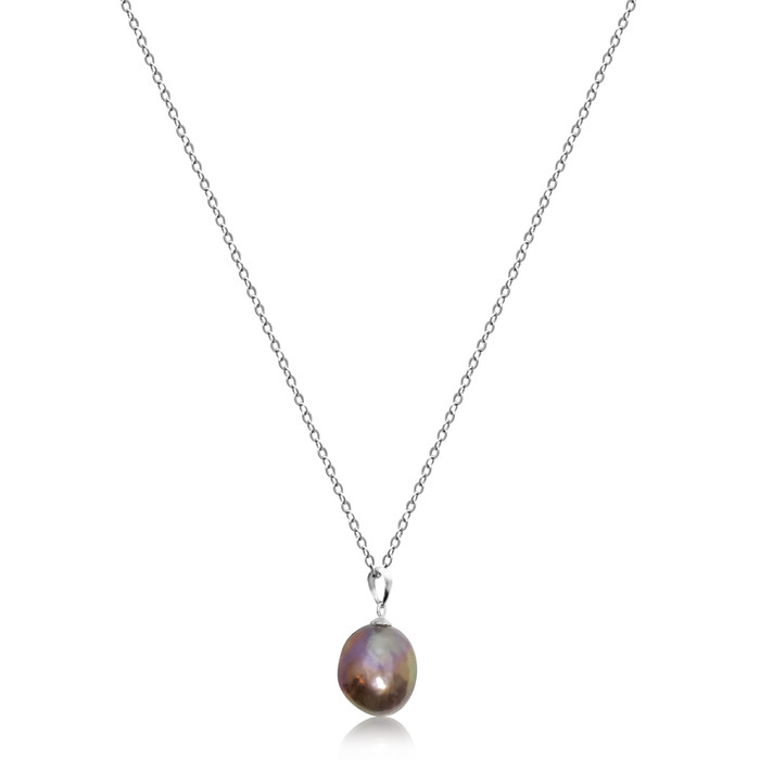 Lustrous Rainbow 'Violet Purple' Baroque Pearl Pendant Sterling Silver Chain Necklace