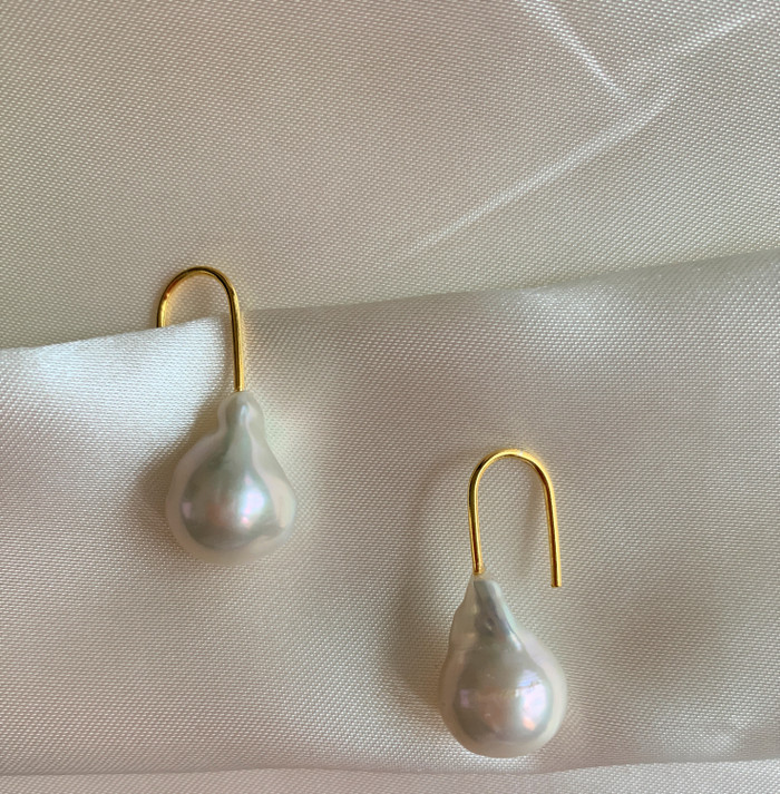 White Baroque Pearl Paperclip Drop Earrings, Yellow Gold