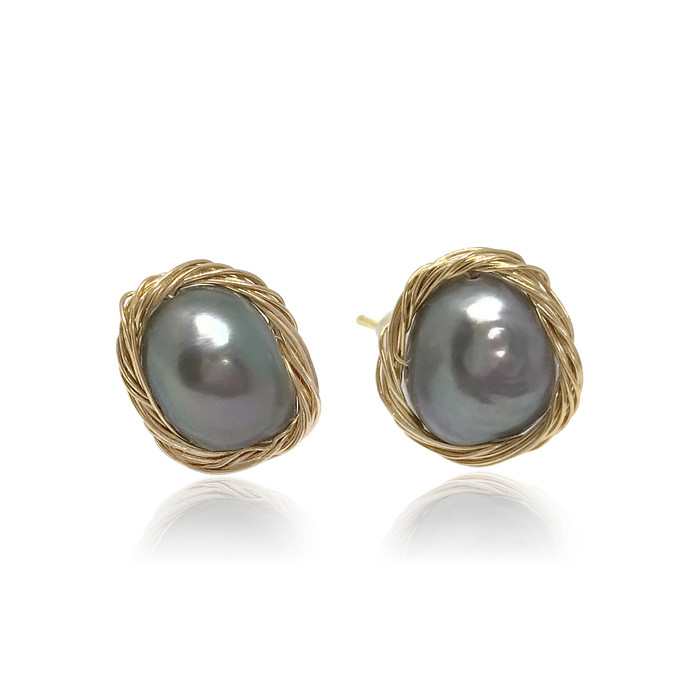 Peacock Baroque Pearl Gold Filled Wire Wrapped Stud Earrings