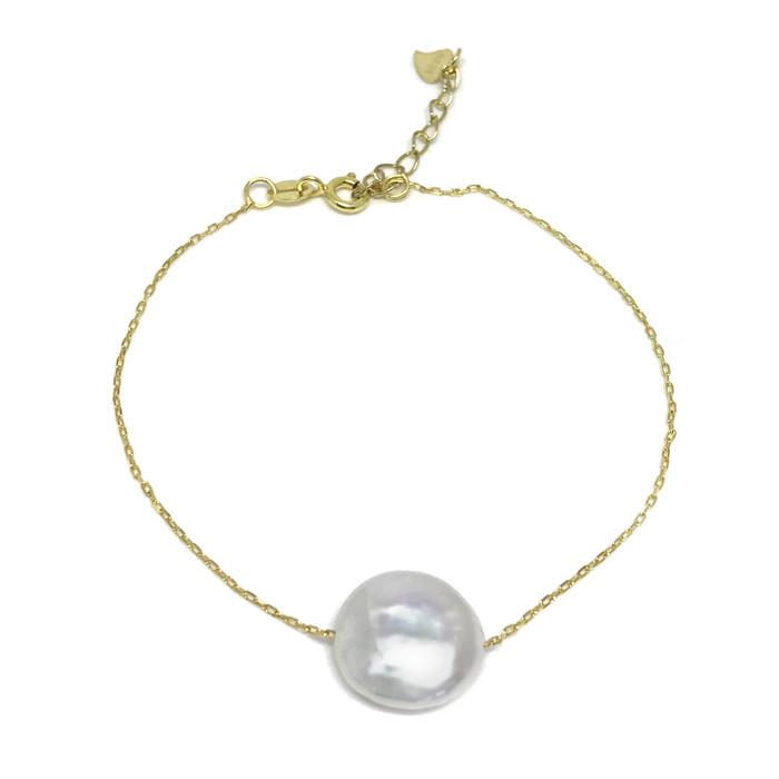 White Coin Pearl Floating Gold Bracelet