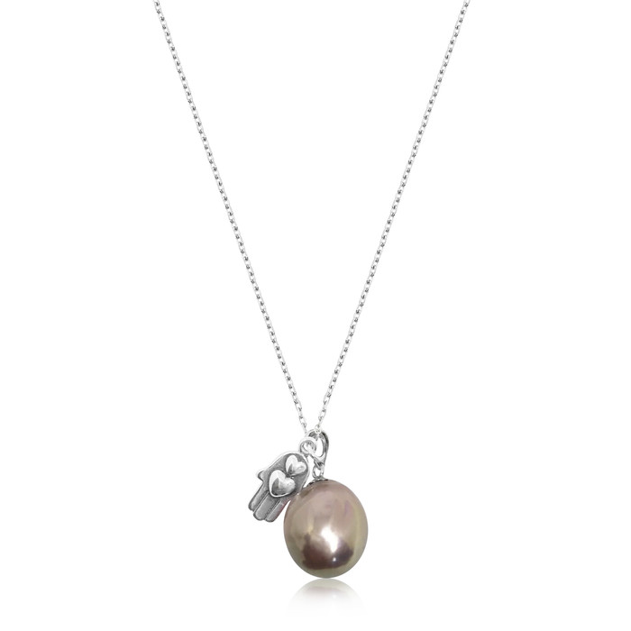 Lustrous Rainbow Baroque Pearl with Hamsa Hand Pendant Sterling Silver Necklace
