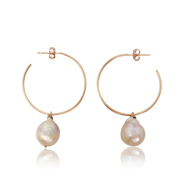Pink Baroque Pearl Hoop Drop Earrings, Rose Gold