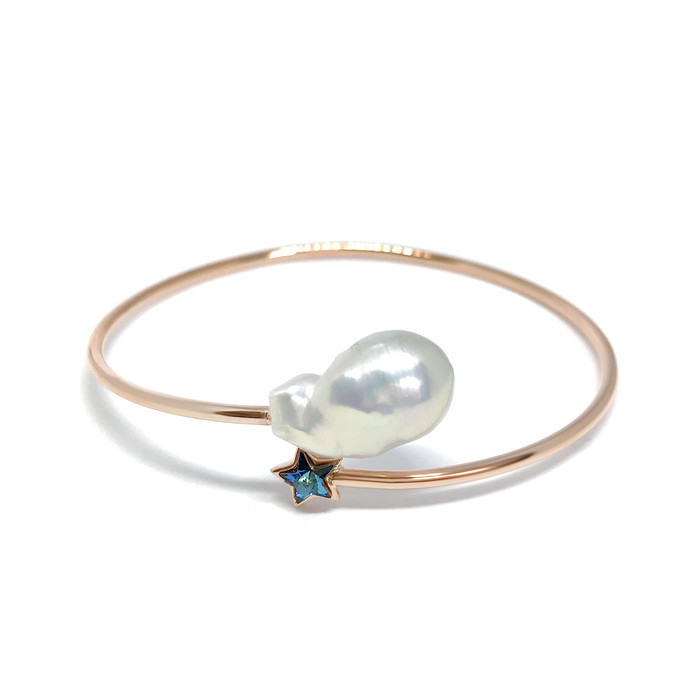 White Baroque Pearl and Blue Star Rose Gold Cuff