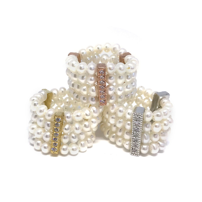 Four-Row Seed Pearls Ring