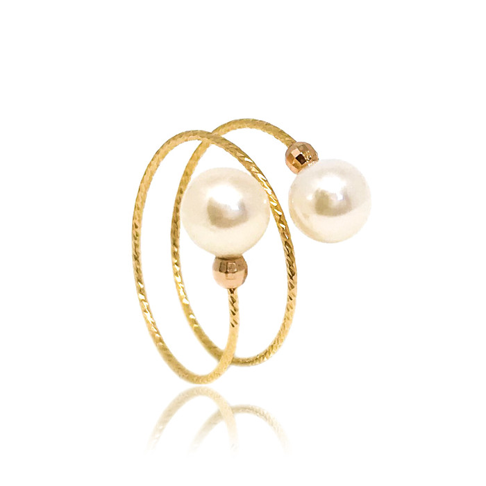 Dual Pearl Ring, Yellow Gold