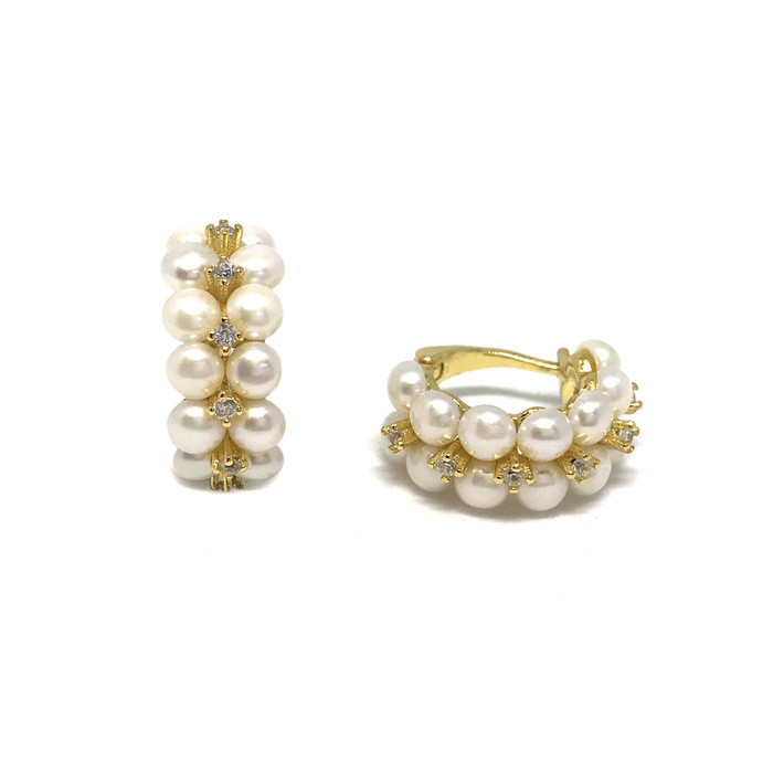 Double Row Pearls and Zirconia Earring Hoops, Yellow Gold
