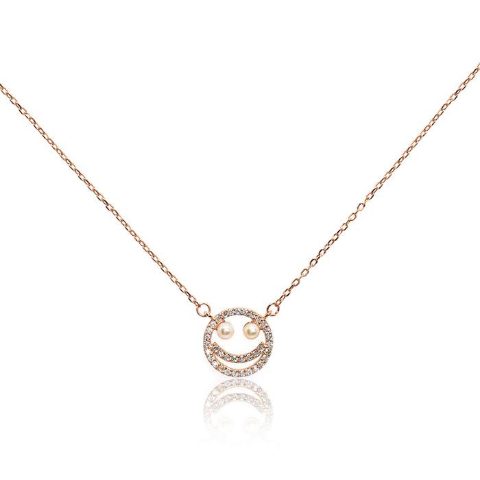 Smiley Emoji Pearl Pendant, Rose Gold