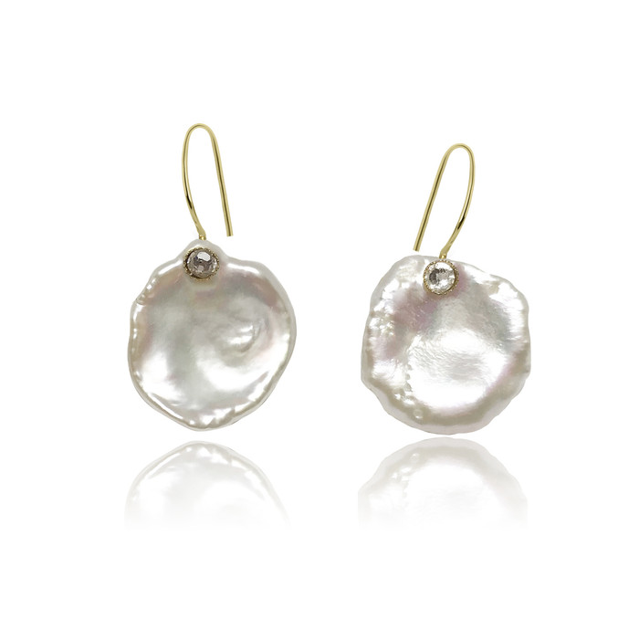White Keshi Petal Pearls with Zirconia, Yellow Gold