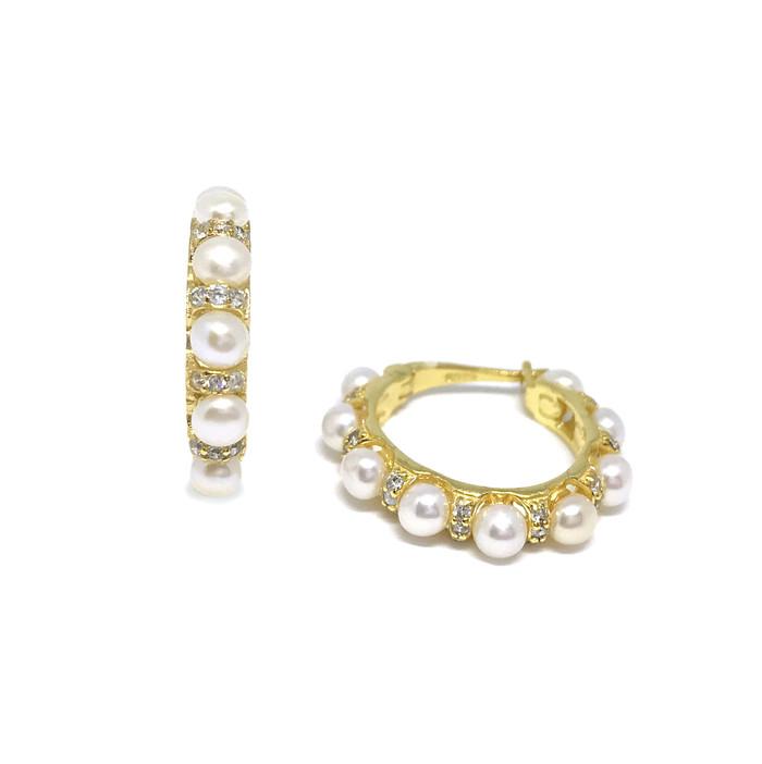 Single Row Pearls and Zirconia Hoop Earrings