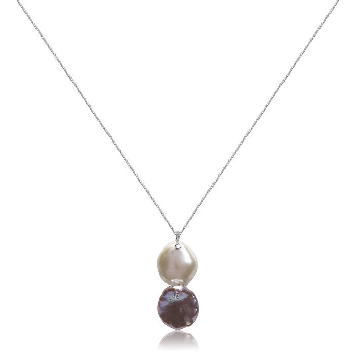 Dual Keshi Pearls with CZ Pendant, Sterling Silver