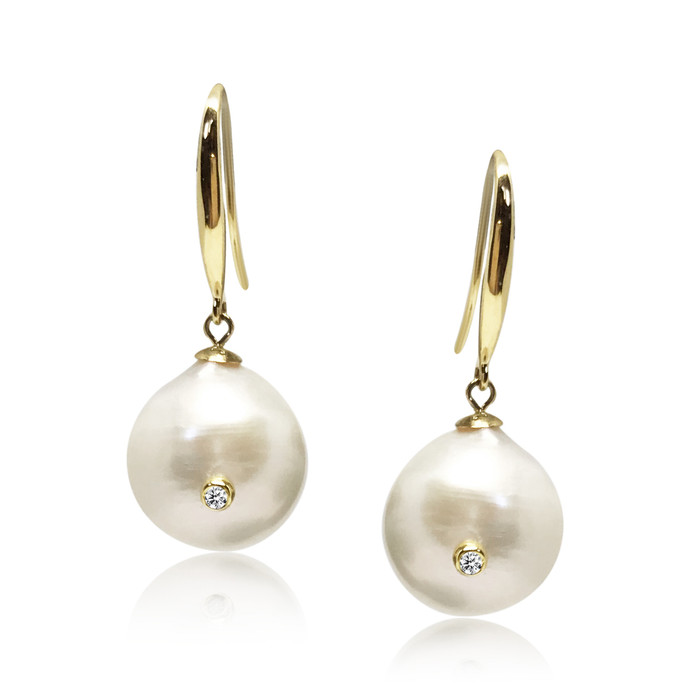 White Baroque Pearl Studded with Diamond Drop Earrings, 18ct Solid Yellow Gold