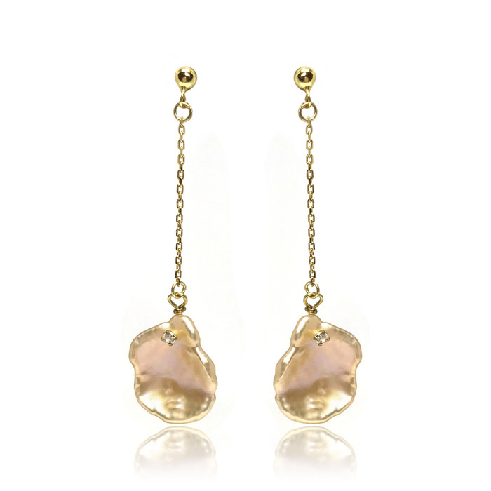 Pink Keshi Petal Pearl Drop Earrings Studded with CZ, Yellow Gold