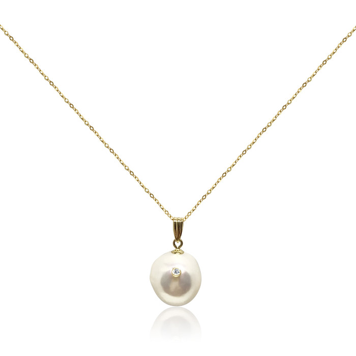 White Baroque Pearl Studded with Diamond Pendant, 18ct Yellow Gold