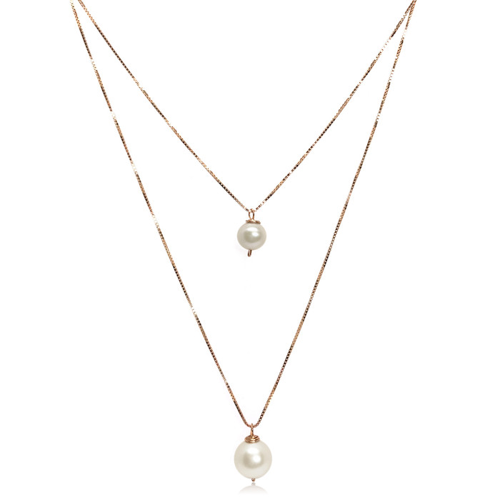 'Like Mother Like Daughter' White Pearl Pendant Necklace Set, Rose Gold