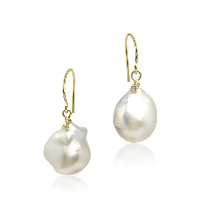 White Baroque Pearl Drop Earrings with Zirconia, Yellow Gold