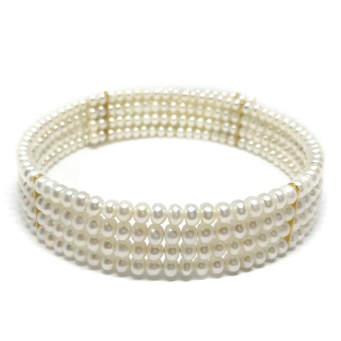 Four Row White Pearl Collar