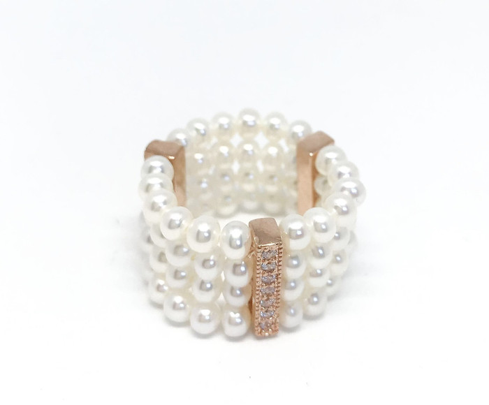 Four-Row Seed Pearls Ring, Rose Gold