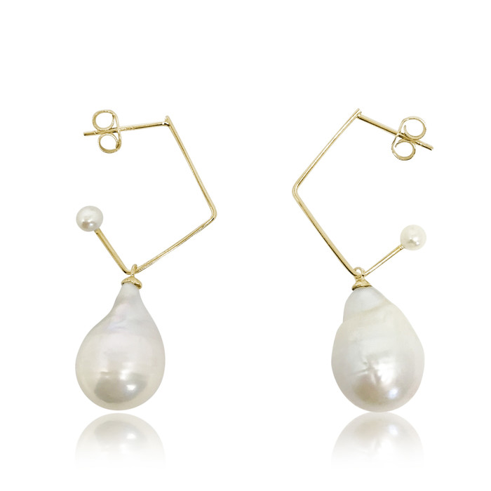 White Baroque Pearl Music Note Drop Earrings, Yellow Gold