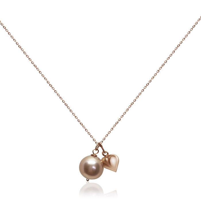 Lustrous Rose Pearl Pendant with Puff Heart Charm, Rose Gold