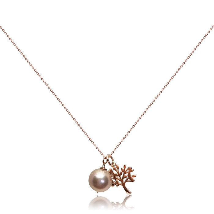 Lustrous Rose Pearl Pendant with Tree of Life Charm Necklace, Rose Gold