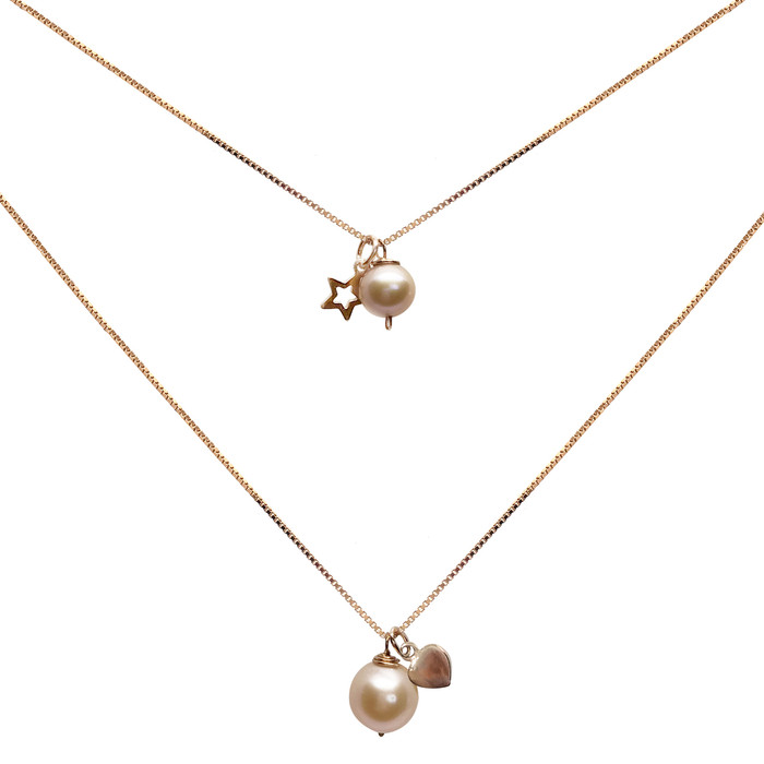 Personalised Pink Pearl Pendant Set with Heart or Star Charm , Rose Gold