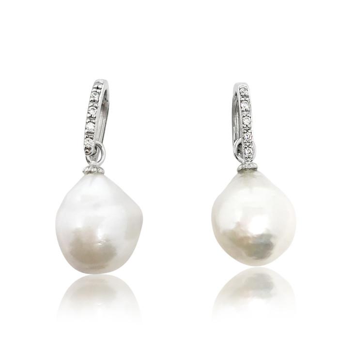 White Baroque Pearl Drop Earrings on Zirconia D Shape Hook