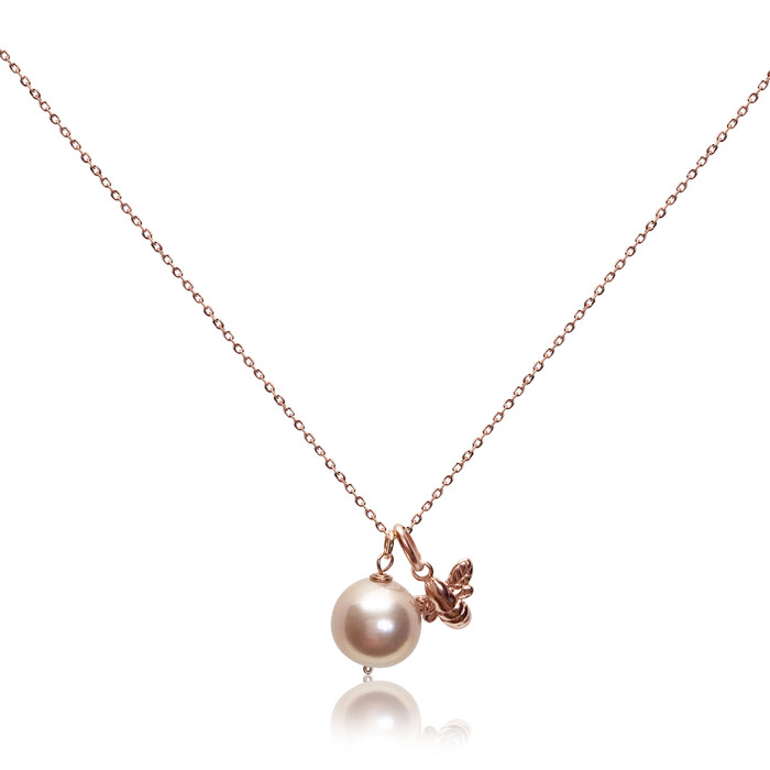 Lustrous Rose Pearl Pendant with Bumble Bee Charm