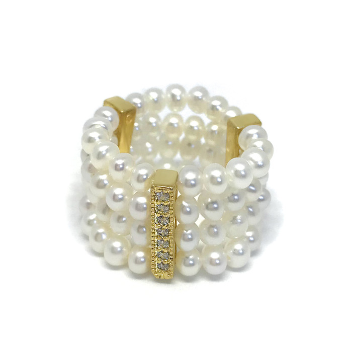 Four-Row Seed Pearls Ring, Yellow Gold