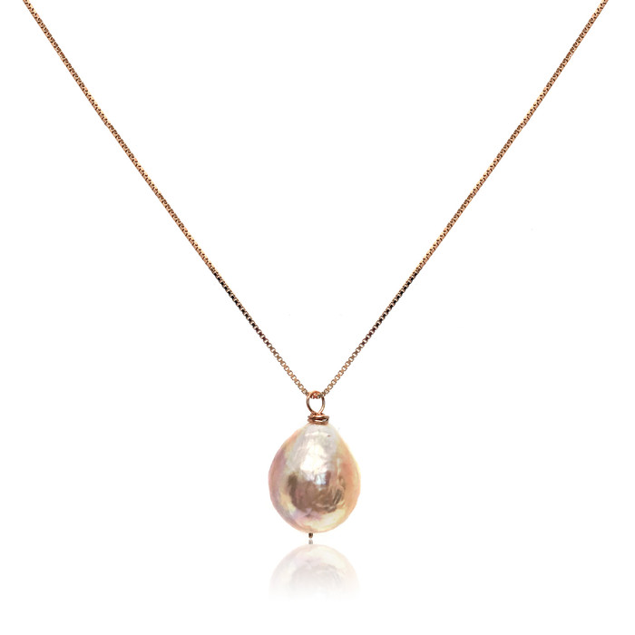 Pink Baroque Pearl Pendant, Rose Gold