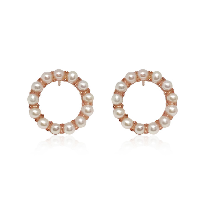 'Circle of Life' White Pearl Hoop Earrings, Rose Gold