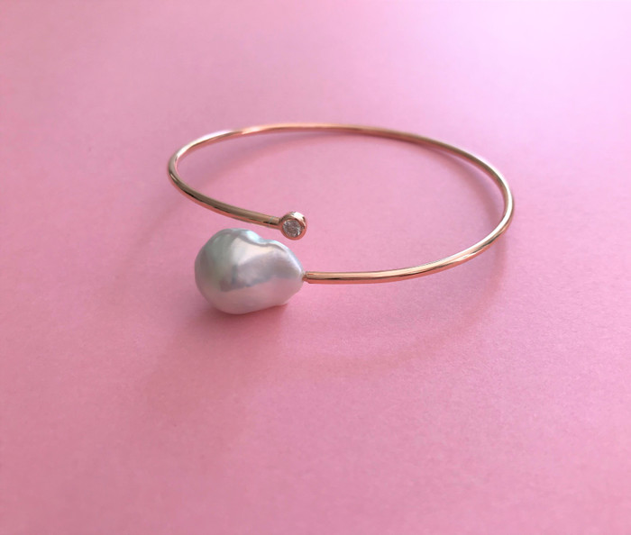 White Baroque Pearl Bangle with Zirconia, Rose Gold