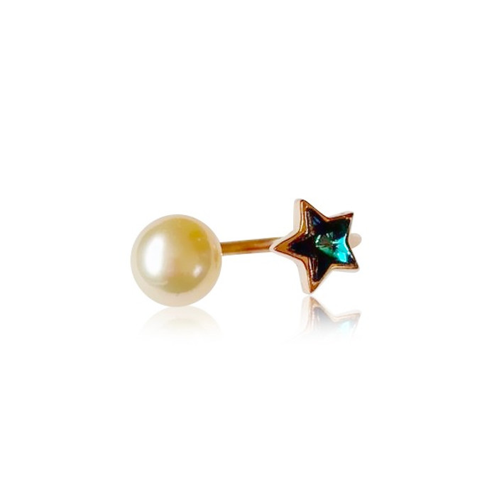 Pink Pearl Ring with Blue Star Zirconia, Rose Gold