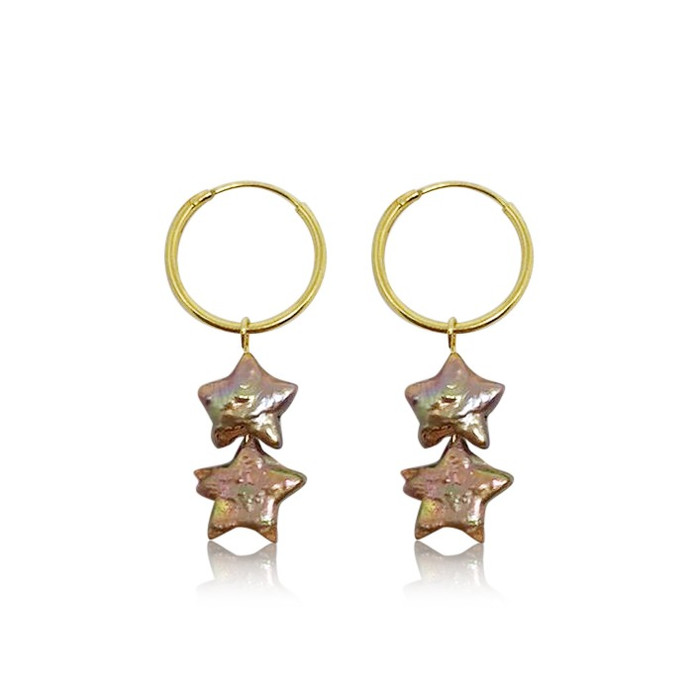 Champagne-Coloured Star Pearl Hoop Drop Earrings, Gold Vermeil