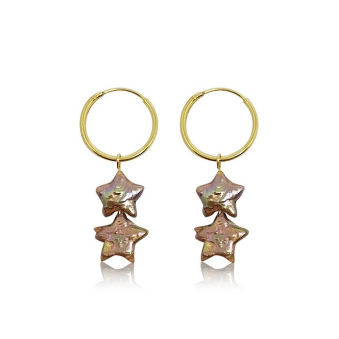 Champagne-Coloured Star Pearl Hoop Drop Earrings, Gold Vermeil