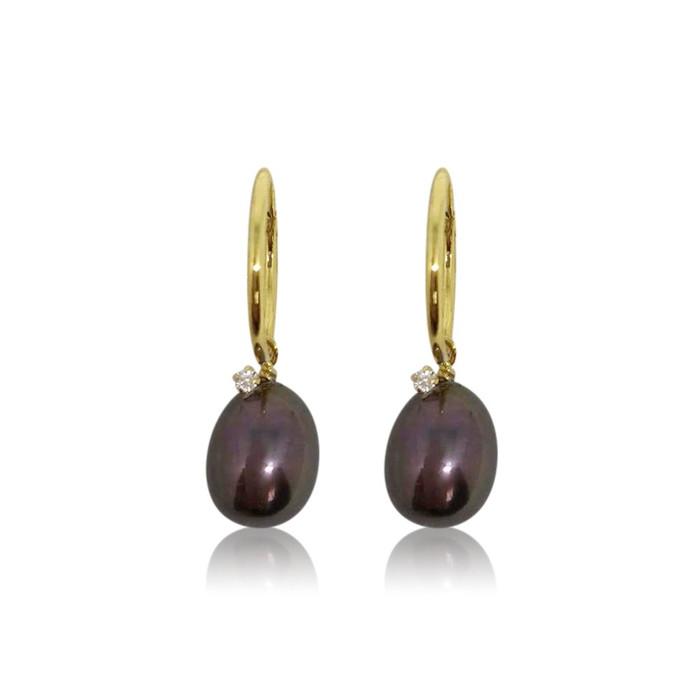 Black peacock pearl with zirconia hoops earrings