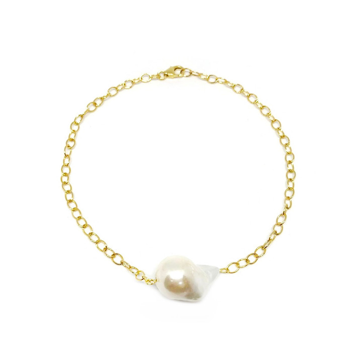 White Baroque Pearl Bracelet/Choker/Necklace On Gold Chain