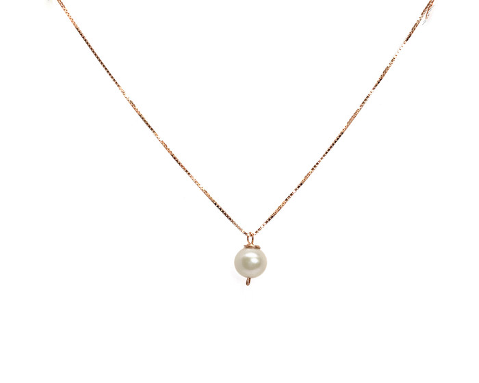 Girls White Pearl Pendant Necklace, Rose Gold