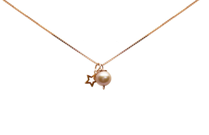 Girls Pink Pearl and Star Pendant Necklace, Rose Gold